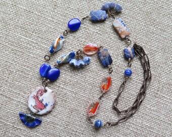 goldfish necklace, cobalt blue necklace, cobalt and orange necklace, unique ceramic necklace, summer necklace, vacation necklace, jewelry