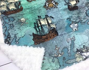 Pirate ship blanket, Personalized Minky blanket, baby blanket, sea ocean nautical blanket, baby shower gift blue green boy blanket, birth