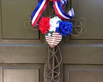 NEW ITEM  Veteran's Day Cross Wreath, Grave Marker,Grapevine Cross, Cemetery Cross, Cross Wreath, Funeral Cross,Memorial Cross, Cross,