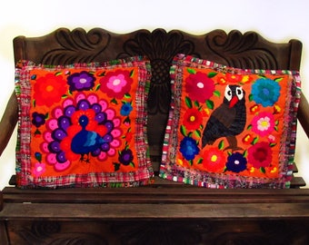 C-004 2 Guatemalan Huipil Pillow Covers  from Chichicastenango