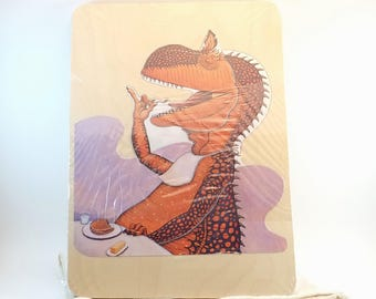 Dinosaur Puzzle - Upcycled Book Art Puzzle - Recycled Children's Book Puzzle - Wood Tray Puzzle