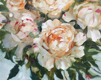 Passion, 12x12 inches, original,oil,painting, wall, decor, art, krista eaton, peony, peonies