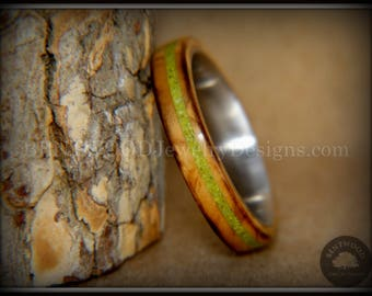 """Bentwood Ring - """"Inlaid Ole Smoky"""" Olive Wood Ring with Apple Green Turquoise Inlay Surgical Steel Core"""