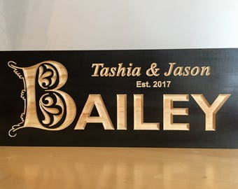 Wooden Carved Sign, Wedding Gift,  Wooden Wall Art, Personalized Anniversary Gift, Briday Party Gift, Carved Sign, Benchmark Signs