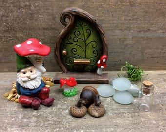 DIY Fairy Garden Mini Garden, Gnome & Door, Kids craft, Fairy Garden Kit, Fairy Garden Party Gift, Garden Party Favor.