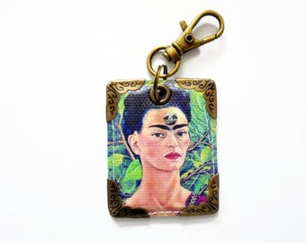 keyring, purse charm, bag charm, key tag, Frida Khalo.