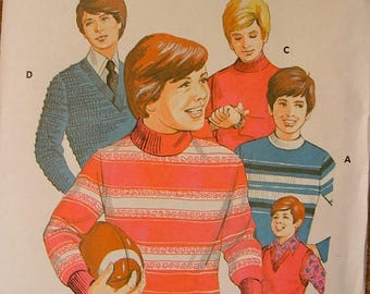 ON SALE 35% OFF Vintage Boys' Pullover Knit Top and Vest Kwik Sew Sewing Pattern 509 Size 8 10 12 14