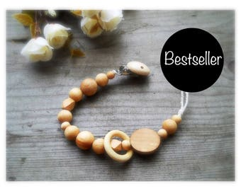 pacifier clip natural eco friendly speenkoord wood teething toy ring teether Paci Clip wooden pacifier holder pacifier chain best selling