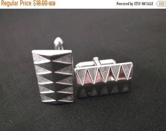 SALE Vintage Retro SWANK Geometric Silver Tone Cuff Links Mad Men Dress Suit Fathers Day Gift