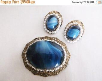 SALE Vintage W GERMANY Blue Glass Cabochon Faux Pearl Filigree Gold Tone Brooch Pin Earrings Demi Parure Set Jewelry