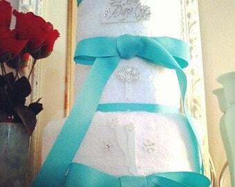 Aqua Blue Bridal Wedding Towel Cake, Something Aqua Blue Towel Cake, The Big Day Bridal Shower Towel Cake, Bridal Shower Cake