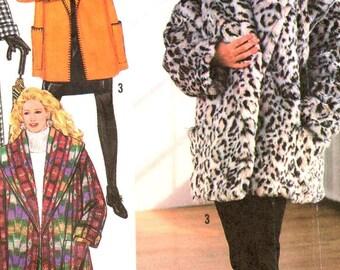 "Simplicity 9860, Sz 6-24/Pt-XL/Bust 30.5-46"".  90s Ladies Fake Fur Coat/Blanket Coat Jacket pattern, Lined Winter  Coat in 3 Lengthst, UNCUT"