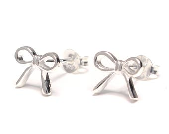 Bow Stud Earrings 925 sterling silver
