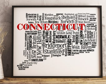 Connecticut Map Art, Connecticut Art Print, Connecticut City Map, Connecticut Typography Art, Connecticut Wall Decor, Connecticut Gift