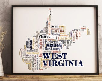 West Virginia Map Art, West Virginia Art Print, West Virginia City Map, West Virginia Typography Art, West Virginia Poster Print