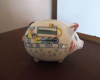 Vintage 1960s Piggy bank - unusual train / holiday design