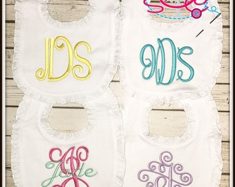 Set of 4 Boutique Style Ruffle Monogram Bibs