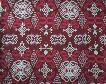 Cotton Ikat fabric maroon, red, gray, violet; hand woven in Bali; yardage
