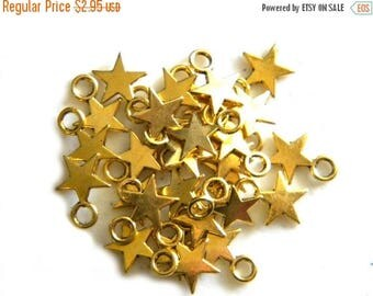 HALF PRICE 10 Small Gold Star Charms - 11mm