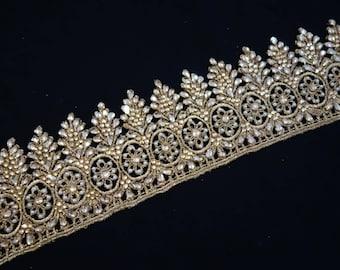 Silken Golden lace trim loaded with rhinestones