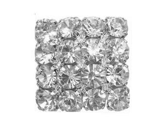 Square diamond 18 mm rhinestone button