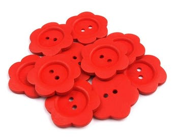2 large button flower wood 5 cm Red