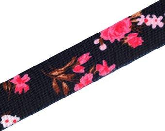 Elastic black decorative flowers 27 mm