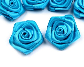 5 small 30 mm turquoise blue satin roses