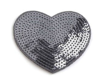Heart sequins 5 cm grey fusible appliqué