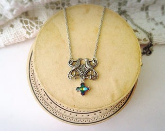 Silver print embossed bird and flower with cross charm necklace vitrail medium swarovski crystal