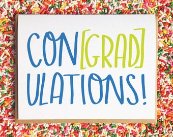 Funny Graduation Card. Grad Card. Engagement Card. Funny Card. Hand Lettered Card. Colorful Card. Pun Card.