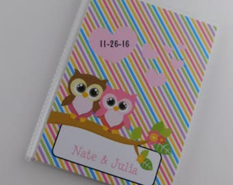 Owl Photo Album Love Birds Valentine's Day Gift Wedding Present Valentines Present Pink Red 4x6 or 5x7 Engagement Anniversary 293