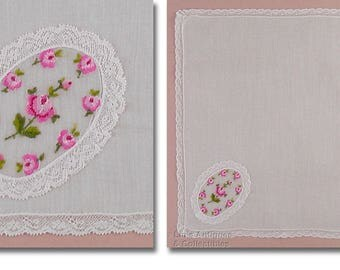 White with Embroidered Pink Roses Cameo Vintage Hanky Handkerchief (Inventory #M4649)