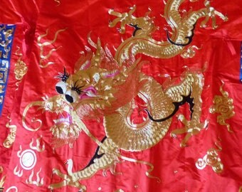 Vintage Chinese  Embroidered Four Claws Dragon Robe  Satin Floss and Gold Metal Thread on Red Silk