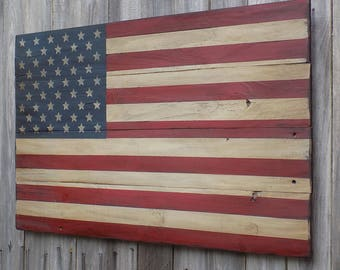 Rustic Wooden American Flag, 22 X 36 inches. Made from recycled fencing. Free Shipping K