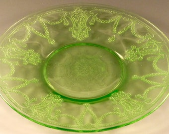 """Cameo Ballerina Green Depression Glass 6"""" Plate Saucer Bread & Butter Sherbet Liner Dancing Girl Hocking Glassware Excellent Condition"""