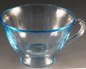 Fostoria Fairfax Blue Footed Cup Yellow Elegant Depression Glass Vintage Glassware Line 2375