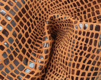 """Tiger Eye Leather Pig Hide 12"""" x 12"""" Pre-cut 1 oz TA-56914 (Sec. 5,Shelf 2,B)"""