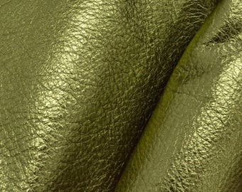 "Martini Olive Green Metallic ""Vegas"" Leather Cow Hide 4"" x 6"" Pre-cut 2-3 ounces DE-63240 (Sec. 8,Shelf 6,C,Box 2)"