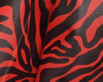 "Fashion Black and Red Zebra Stripes Leather Cow Hide 8"" x 10"" Pre-cut 1 ounces smooth DE-64474 (Sec. 4,Shelf 5,A)"