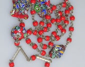 "Magnificent Millefiori Glass Beads Flapper Necklace 30"" Long"