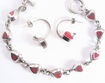 Vintage Sterling Carnelian Heart Bracelet Earrings Jewelry Set