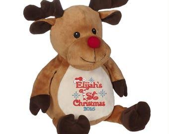 Personalized Christmas Reindeer Stuffed Animal