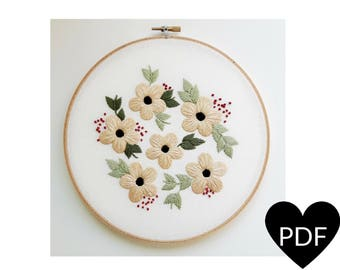 Summer Flowers Embroidery Pattern, PDF Pattern, Flower Hand Embroidery Pattern, Instant Download PDF, Printable Stitching Pattern