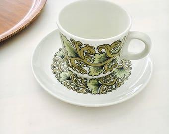 "Vintagei Arabia Finland ceramic coffee cup with saucer named ""Hermes"",Göran Bäck/ Raija Uosikkinen, 1970"