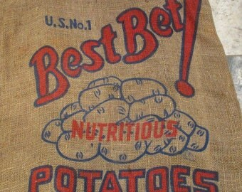 Burlap Sack, Best Bet Minnesota Potato Sack, Vintage Farm and Barn Stock