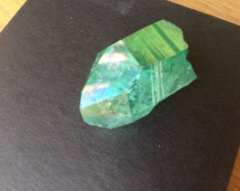 green aura quartz point large green Arkansas aura quartz green quartz point apple aura quartz