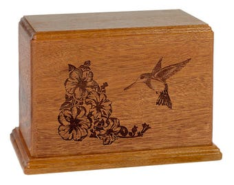 Mahogany Hummingbird Wood Cremation Urn