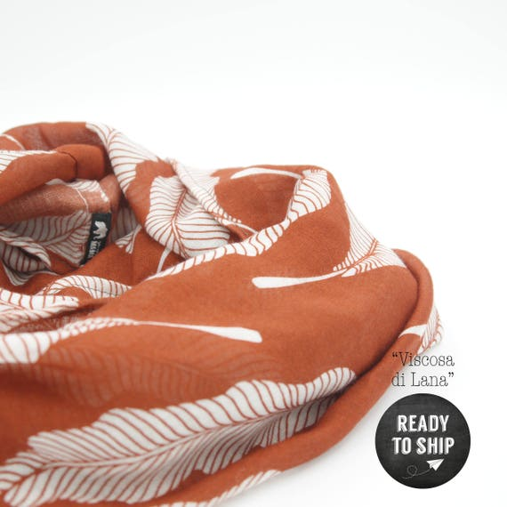 """Wool viscose scarf red and white """"feathers"""", feathers infinity scarf"""
