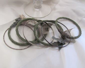 Bracelet Beautiful Stacking Bangle Textile Leather Bracelet 7 Piece Set - Green Silver (51)